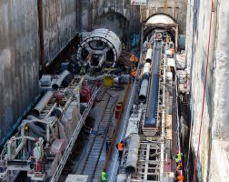 54842459 - thessaloniki, greece - march 28, 2016: tunnel boring machines at construction site of metro in thessaloniki going back to work after four years
